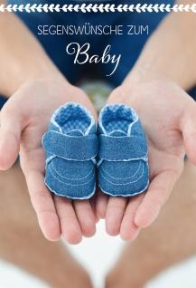 Glückwunschkarte Geburt Baby-Schühchen 6 St Kuvert Bibelwort Hände Engel Schutz