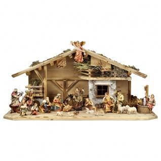 Ulrich Krippe Set 24 Teile Holzfigur geschnitzt Südtirol Weihnachtskrippe