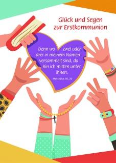 Kommunionkarte Glück und Segen Erstkommunion (6 Stck) Glückwunschkarte Grußkarte