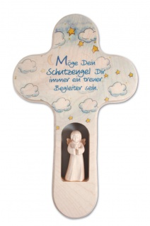 Kreuz für Kinder Schutzengel Gebet Engel 21cm Kruzifix Holz-Kreuz
