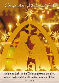 Postkarte Gesegnetes Weihnachtsfest (10 St) Lichterbogen Grußkarte Bibelwort