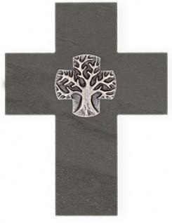 Wandkreuz Schiefer Kreuz Neusilber Lebensbaum 17 x 13 cm Kruzifix Christlich