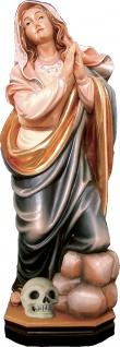 Heilige Melanie mit Totenkopf Heiligenfigur Holz geschnitzt Klostergründerin