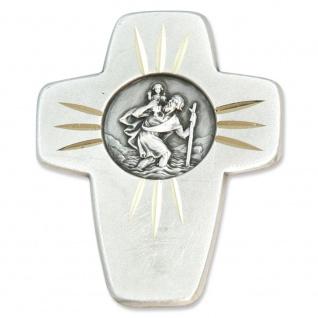 Christophorus Autoplakette Kreuz Metall 4, 5 cm Magnet/Klebepad Schutzpatron