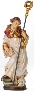 Heiliger Bruno mit Totenkopf Heiligenfigur Holz geschnitzt Schutzpatron