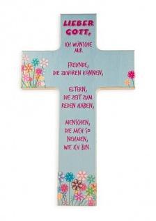 Kinderkreuz Lieber Gott, ich wünsche mir.. Buche 15cm 20cm Wandkreuz Holz Blumen
