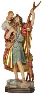 Heiliger Christophorus Holzfigur geschnitzt Südtirol Schutzpatron Heiligenfigur