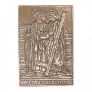 Namenstag Petrus und Paulus 8 x 6 cm Bronzerelief Wandbild Schutzpatron