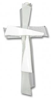 Kreuz aus Glas Kreuz weiss 21 x 11 cm Wandkreuz Modern Kruzifix