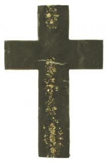 Wandkreuz Schiefer mit Pyrit 18 x 12, 5 cm Vulkaneifel modern Schmuckkreuz Unikat