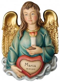 Herz-Engel mit ihrem Namen Holzfigur geschnitzt Engelfigur Südtirol