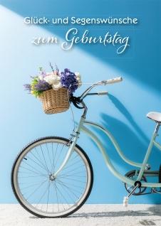 Glückwunschkarte Geburtstag Fahrrad 6 St Kuvert Glück Segen Blumen Genuss Zukunft