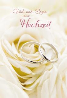 Glückwunschkarte Glück und Segen zur Hochzeit (6 St) Eheringe auf Rose - Vorschau