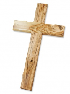 Wandkreuz Olivenholz Jerusalem 16 - 70 cm gekerbte Kante Kruzifix Kreuz