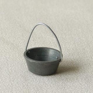 Zinnkessel klein Metall handgefertigt 3 cm Zubehör für Weihnachtskrippe