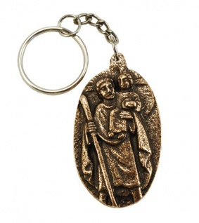 Schlüsselanhänger Christophorus 5 cm Bronze Christopherus Anhänger