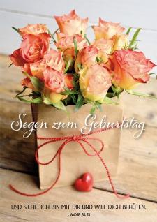 Postkarte Geburtstag Rosen-Strauß 10 St Adressfeld Bibelwort Schutz Begleitung
