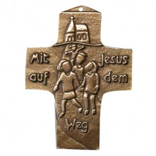 Wandkreuz Bronze Kreuz Mit Jesus auf dem Weg 10 cm Kommunion Peters Jürgen