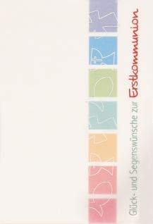 Glückwunschkarte Glück und Segenswünsche zur Erstkommunion (6 St) Symbole
