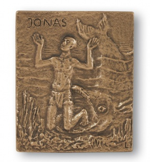 Namenstag Jonas 13 x 10 cm Bronzerelief Wandbild Schutzpatron