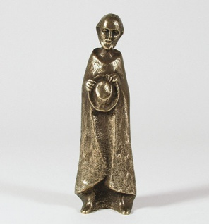Hirte mit Hut 20 cm Bronze Krippenfigur