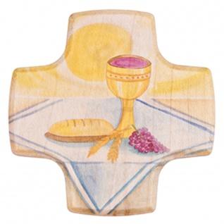 Kinderkreuz Kelch Brot Trauben Linde Holz Kunstdruck 9 cm Wandkreuz Kommunion