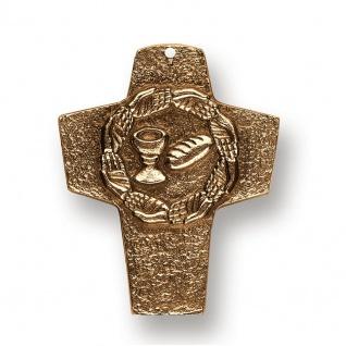 Wandkreuz Brot und Wein Bronze Erstkommunion Kreuz 10 cm Peters Jürgen