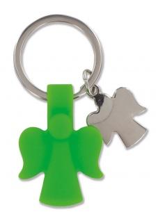 Schlüsselanhänger Schutzengel Kautschuk Metall grün Engel Anhänger