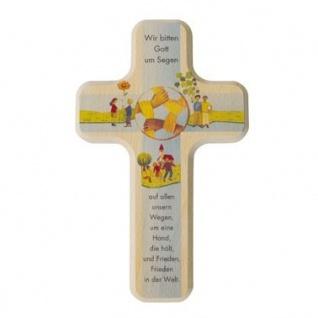 Kinderkreuz Wir bitten Gott um Segen Holz bedruckt Frieden Welt 18 cm Wandkreuz