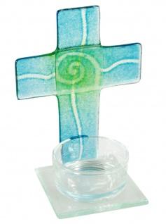 Teelichthalter Kreuz zur Meditation türkis/grün Glas 11 cm Stehkreuz für Kerze