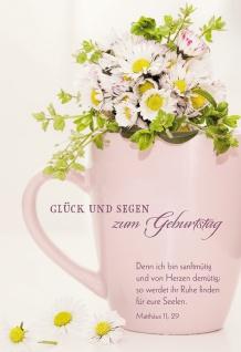 Glückwunschkarte Glück und Segen zum Geburtstag (6 St) Gänseblümchen im Becher