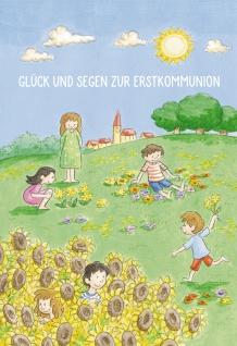 Glückwunschkarte Glück und Segen zur Kommunion (6 St) Kinder auf der Wiese Psalm