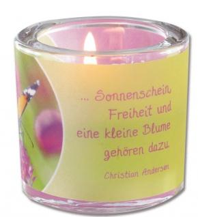 Glaswindlicht Leben inkl. Teelicht Kerzenhalter Geschenkbox Glas für Windlicht