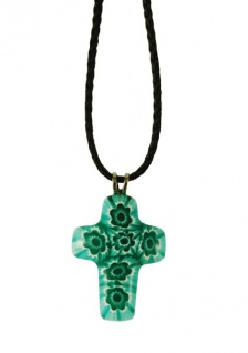 Kreuz-Anhänger Kreuz türkis-weiß Murano Glas 3 cm