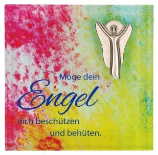 Glasquader Schutzengel Metall Psalm 8 cm Wandrelief Kerstin Stark Geschenkbox