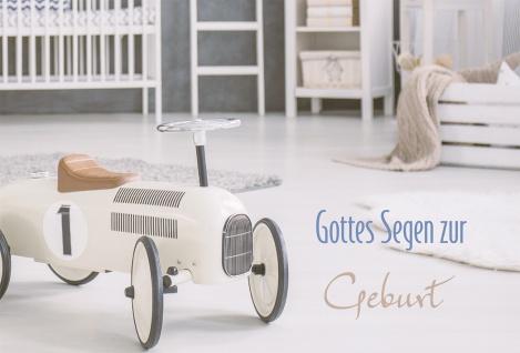 Glückwunschkarte Gottes Segen zur Geburt Retro Rutschauto Kuvert (6 Stück)