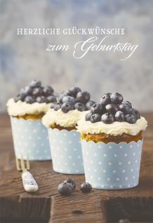 Glückwunschkarte Herzliche Glückwünsche zum Geburtstag (6 St) Blaubeer Cupcakes