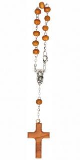 10er Rosenkranz Olivenholz-Perlen gekettelt Holzkreuz Marien-Andacht