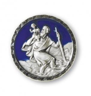 Christophorus Autoplakette azurblau Ø 2, 2 cm Magnet Christophorus Plakette