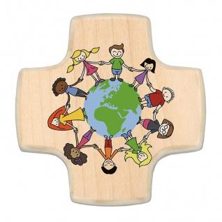Kinderkreuz Freundeskreis Erdkugel Linde Holz Kunstdruck 9cm Wandkreuz Holzkreuz