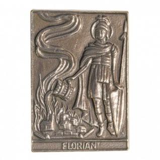 Namenstag Florian 8 x 6 cm Bronzeplakette Bronzerelief Wandbild Schutzpatron