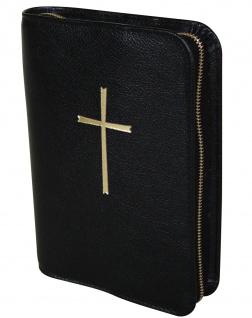 Gotteslobhülle Kreuz Großdruck Rindleder Schwarz Gesangbuch Einband Katholisch