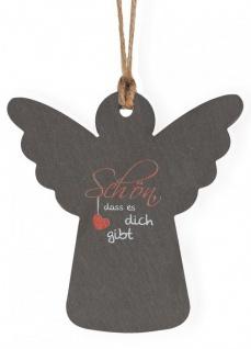 Schiefer Plakette Engel Schön, dass es dich gibt 9 cm, Hanfband