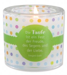 Glaswindlicht DieTaufe inkl Teelicht Kerzenhalter Geschenkbox Glas für Windlicht