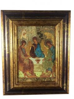 Ikone Heilige Dreifaltigkeit 18 x 22 cm Griechenland Leinwand Holzrahmen