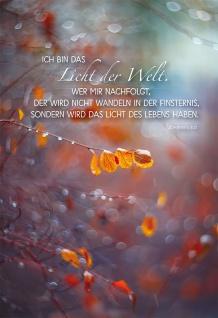 Trauerkarte Ich bin das Licht der Welt Bibelwort Grußkarte mit Kuvert (6 Stück)