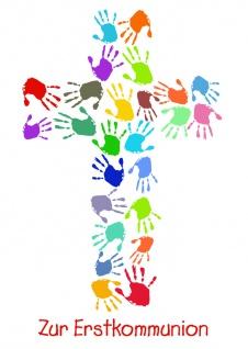 Glückwunschkarte Zur Erstkommunion (6 St) Kreuz aus bunten Händen Heidi Rose
