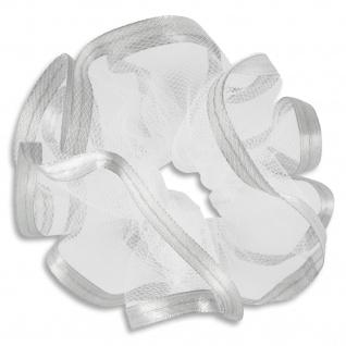 Kerzenmanschette Satinband Silber matt Tüll weiß 12 x 9 cm für Langkerzen