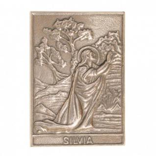 Namenstag Silvia 8 x 6 cm Bronzeplakette Bronzerelief Wandbild Schutzpatron