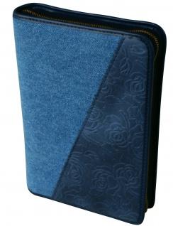Gotteslobhülle Blaue Blüten Großdruck Stoff / Leder Gesangbuch Einband
